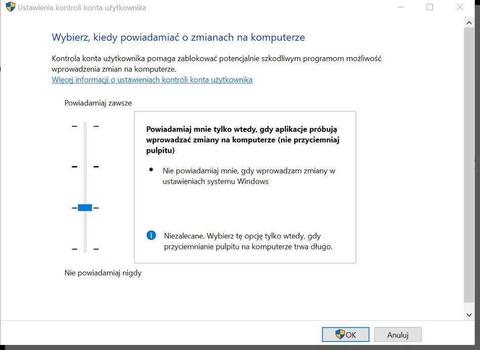 zaprojektowany interfejs - Windows