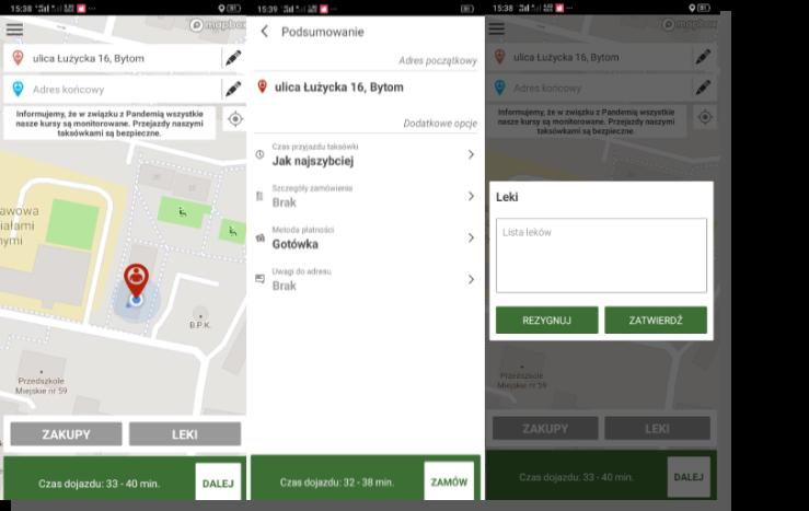 aplikacja mobilna eco taxi - przykład projektowania