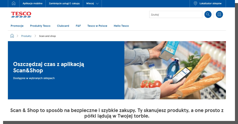 interfejs e-commerce - aplikacja Tesco