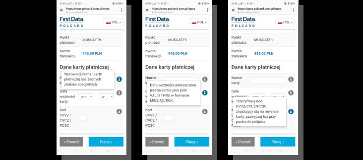projektowanie formularzy płatności - first data polcard