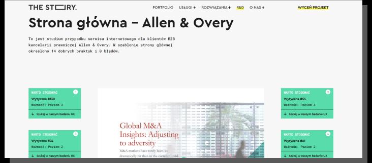 Audyt UX strony głównej firmy Allen & Overy