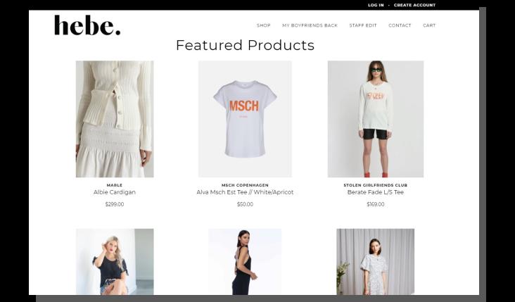 e-commerce UX - strona główna sklepu hebe
