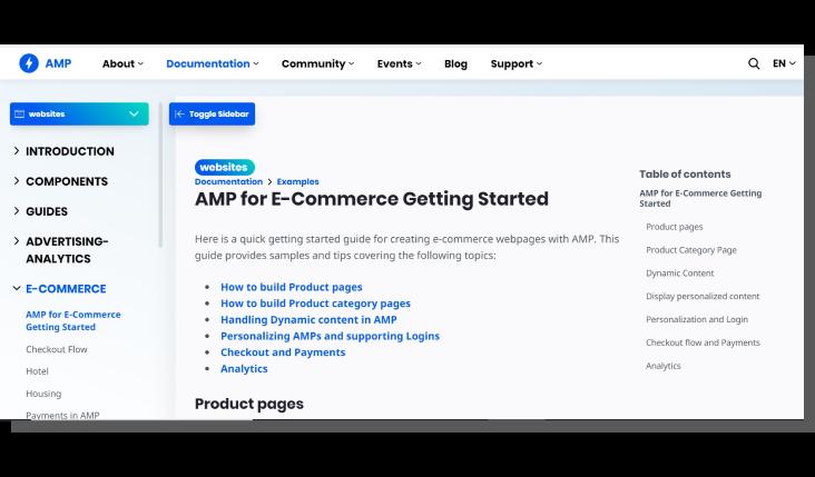 trendy e commerce - google amp