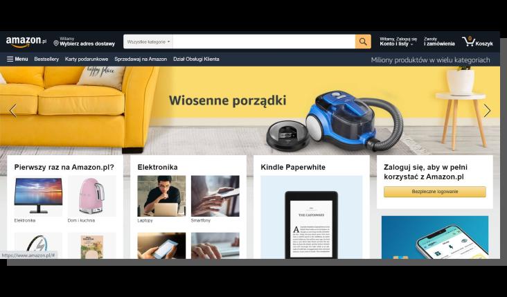 e-commerce strony głównej - Amazon