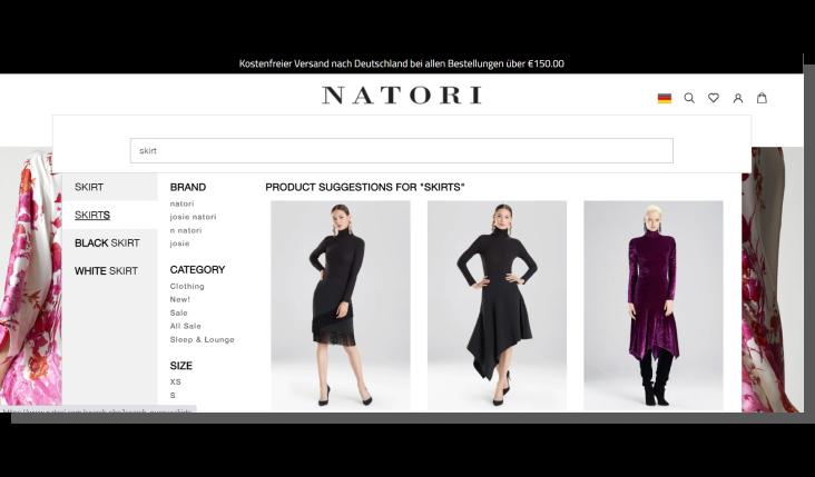 projektowanie strony głównej w sklepie internetowym - Natori