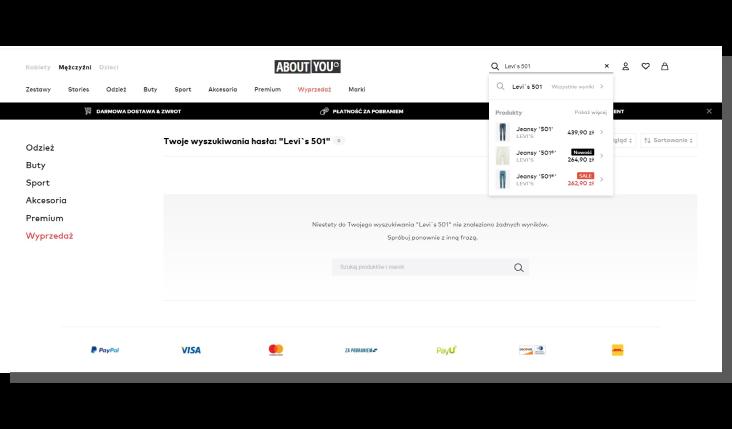 sortowanie produktów w sklepie internetowym - about you