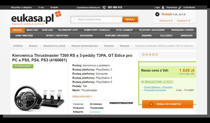 karta produktu w e-commerce