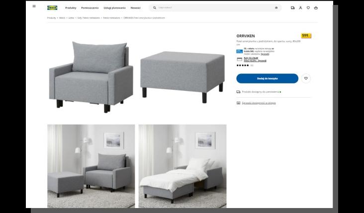 projektowanie karty produktu - Ikea