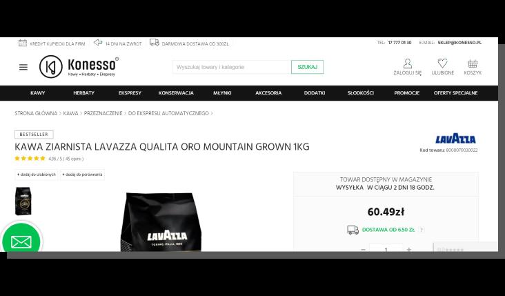 karta produktu e-commerce - konesso