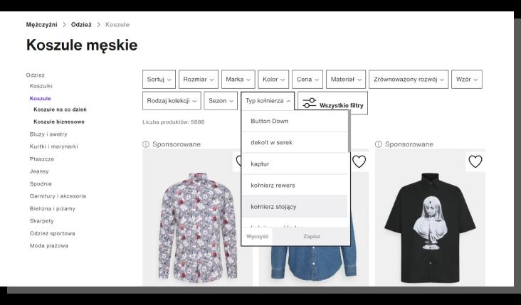 filtrowanie produktów w e-commerce