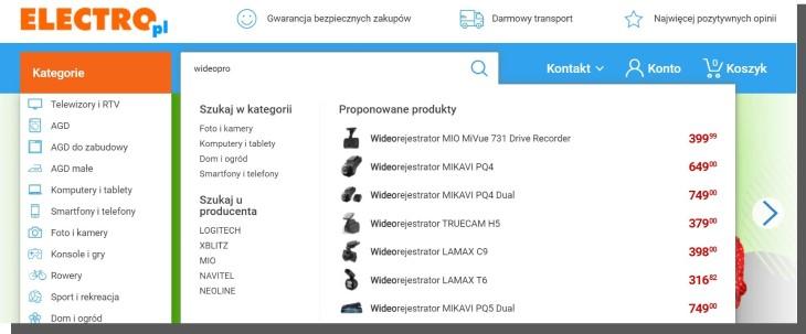wyszukiwanie produktów w e-commerce - electro