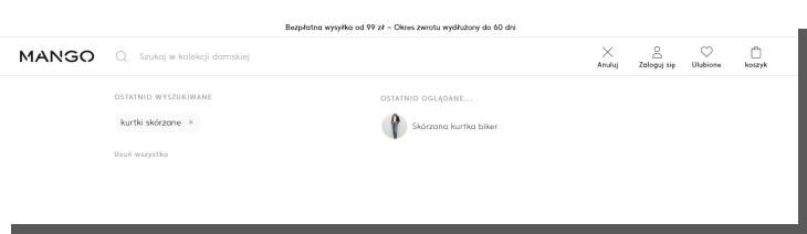 wyszukiwarka e-commerce - sklep mango