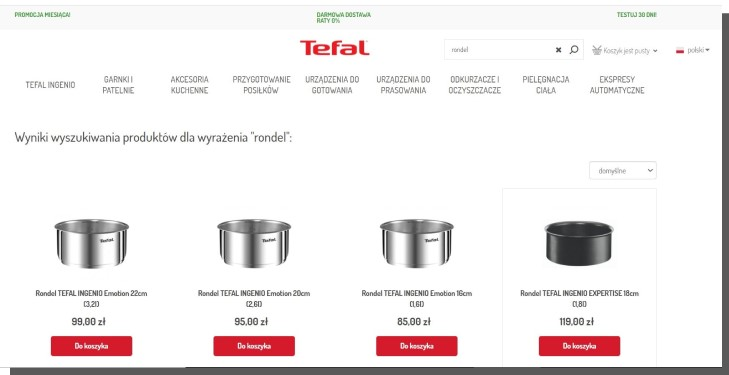 produkty w sklepie internetowym - wyszukiwarka e-commerce