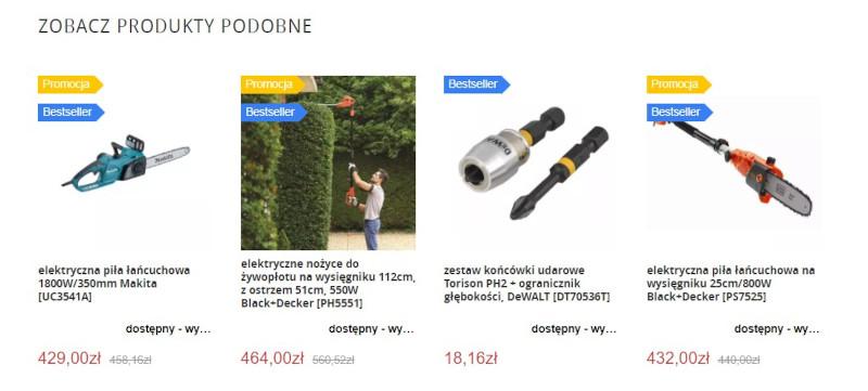 nawigacja w e-commerce - popularne produkty