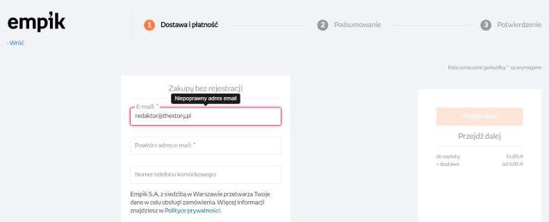 projektowanie formularza w e-commerce - Empik