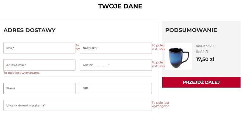 projektowanie formularzy e-commerce
