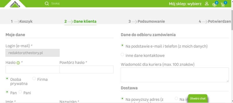 wymagania formularza zamówienia w e commerce