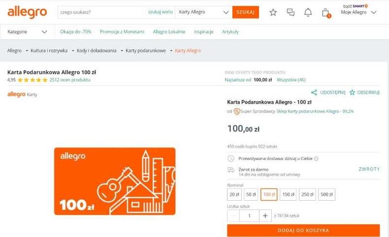 bony podarunkowe w sklepie internetowym