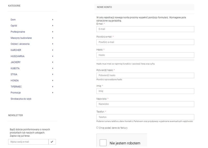 rejestracja w e-commerce sklepu internetowego