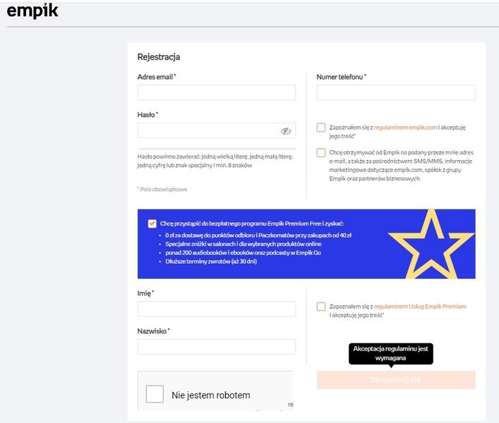 formularz rejestracji w sklepie internetowym - empik