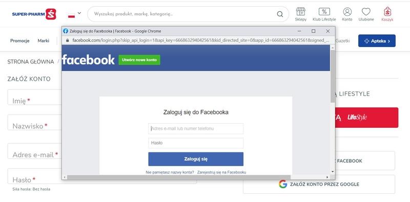 rejestracja e-commerce - facebook