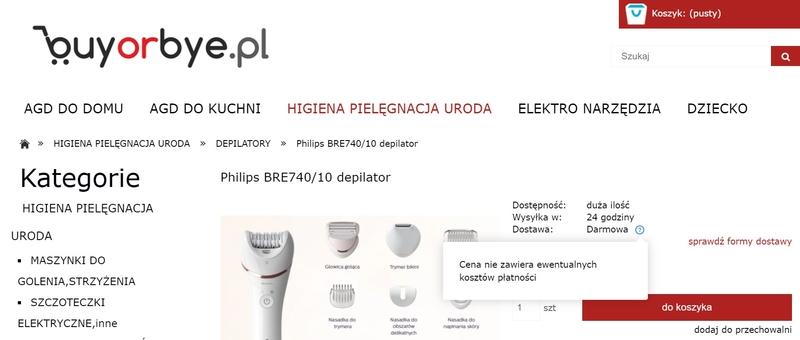 microcopy, karta produktu w sklepie internetowym