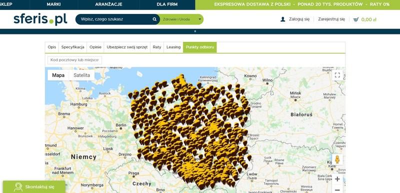 odbiór w sklepie internetowym - mapa sklepów