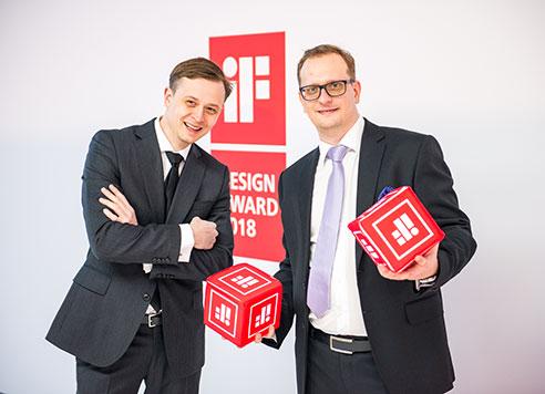 iF Design Award in Munich. Dymitr (UX), Yaroslav (CTO).